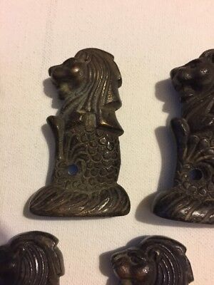 Lot Of 5 Antique Bronze Merlion Southeast Asian Opium Weight - 226g Each
