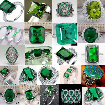 925 Sterling Silver Vintage Emerald Rings Women Wedding Fashion Jewelry Sz 6-10