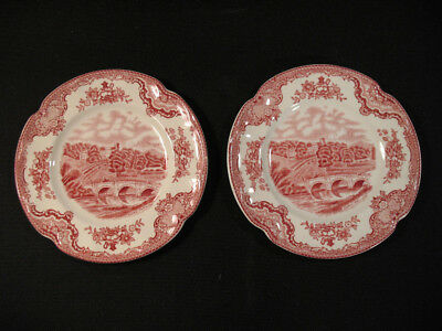 "2 Johnson Bros Pink Old Britain Castles 6"" Bread & Butter Plates (Crown) Mint"