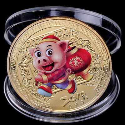 Pig Souvenir Coin Gold plated Chinese Zodiac Commemorative Coin Lucky Gift FY