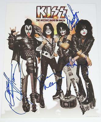 KISS Signed Autograph 8x10 Photo by All 4 Members Paul Stanley, Gene Simmons, +