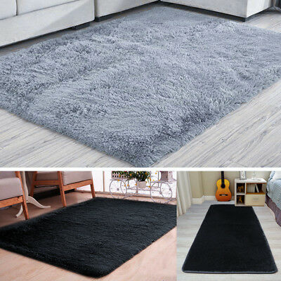 Fluffy Rugs Anti-Skid Shaggy Area Rug Dining Bedroom Carpet Floor Mat Super Soft