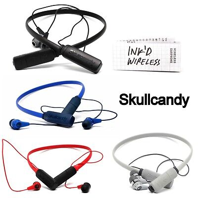 Skullcandy Ink'd Wireless Bluetooth Earphones with Mic White Red Black Blue New