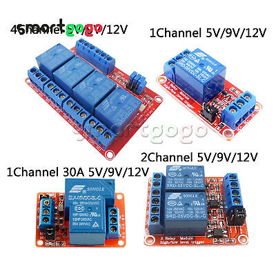 1CH/2CH/4CH Relay Module Board With Optocoupler H/L Level Triger 5/9/12/24V
