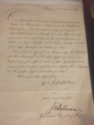 1871 Letter From Privy Counsellor Berlin Germany