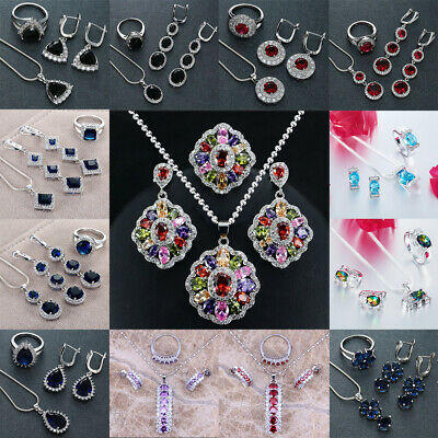 925 Sterling Silver Topaz Gemstone Pendant +Ring+Earrings Necklace Jewelry Sets