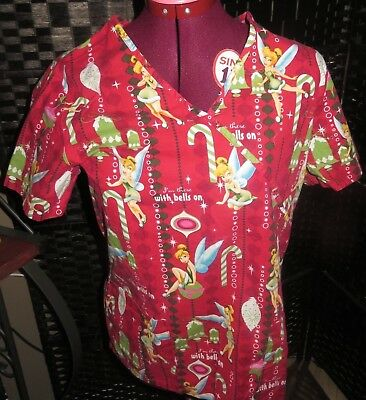 Disney Tinkerbell Christmas I'm There With Bells On Small Scrub Top