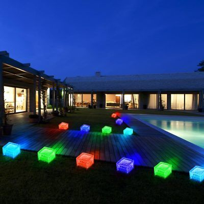12er Set RGB Led Solar Lights Outdoor Area Yard Glass Garden Cube Colour Change