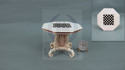 Miniature 1:12 Scale Mid-Victorian Wooden Chess Table For Doll House[Unfinished]