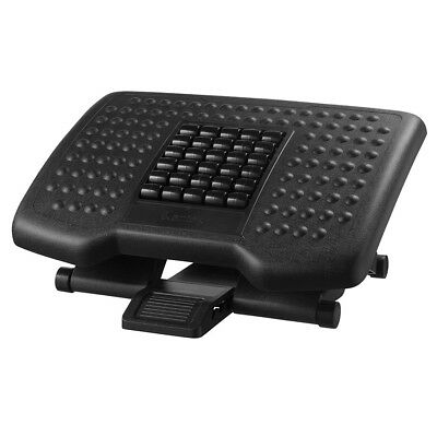 Premium Ergonomic Footrest with Rollers, Black