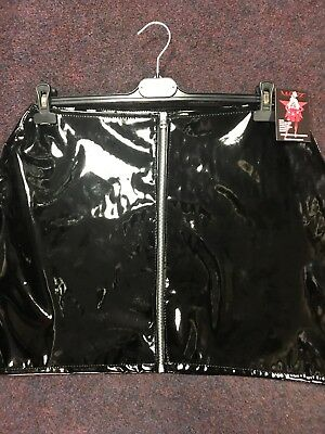 Misfitz black glossy pvc zip mini skirt size 16 Goth Fetish Club Punk Rock TV CD