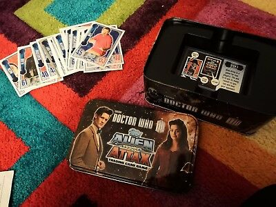 Doctor Dr Who Alien Attax Trading Card Storage Tin & approx 40 cards inc shiny