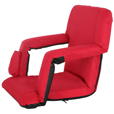 5 Assorted Positions Portable Stadium Seat Chair, Reclining Seat Red Bleachers
