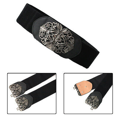 Women Leather Belt Skinny Elastic Stretch with Metal Buckle 60mm wide Waistband