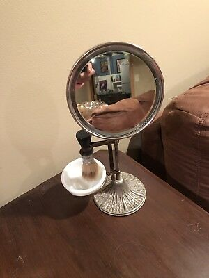 Mens Vintage Shaving Mirror- With Brush And Cup Holder