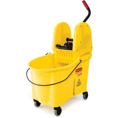 Rubbermaid Commercial WaveBrake Mop Bucket Press Wringer Combo, 44-Quart, Yellow