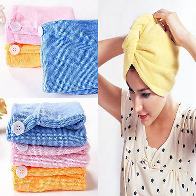 1X Lady Hair Wrap Head Toalla Turbie Turbante Twist Drying Cap Loop Button