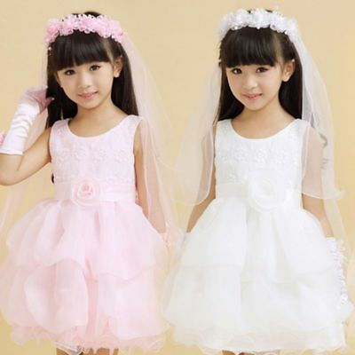 Girls Children Hairband 2 Layers Tulle Bridal Veils Floral Lace Wedding Headband