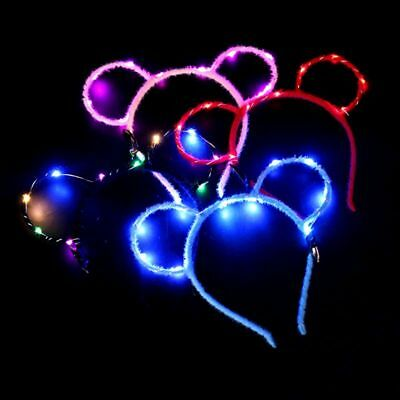 Women Girls LED Flashing Cute Mouse Bear Ears Hair Hoop Glowing Lights Headband