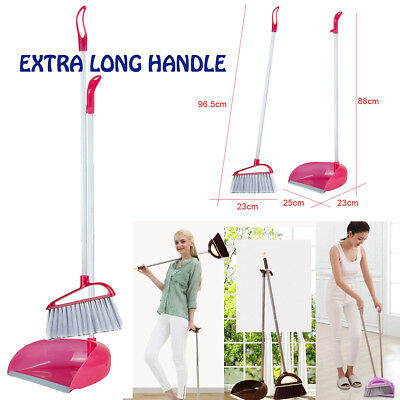 Extra Long Handle Broom and Dustpan Set Sweeper School Kitchen Home Cleaning kit