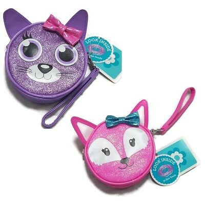 Girls Wristlet Gift Set Purse w. Hair Bands Fox Cat Purple Pink Glitter Coin Bag
