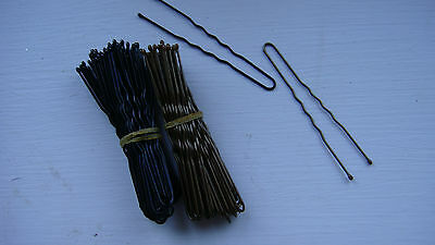 108 x BOBBY  PINS/ KIRBY GRIPS BLACK AND BROWN