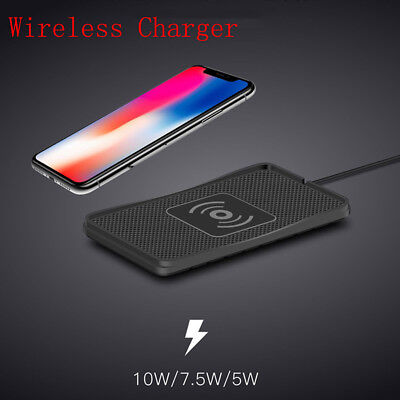 Qi Wireless Charger Car Holder Mount Non-Slip Pad Mat For Samsung iPhone 8 XS