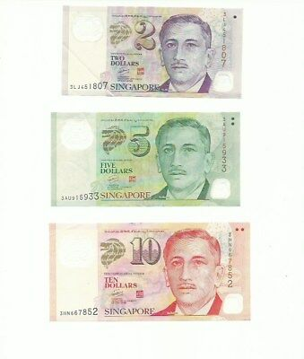 SINGAPORE $17 SGD Bank Notes Currency Set of 3 2,5 & 10 Dollars Real Money!