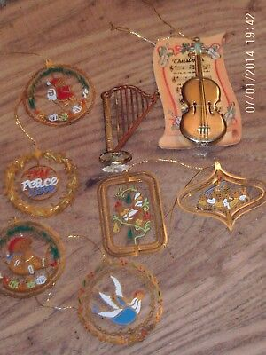 Mixed Lot Collection Of Vintage Brass Xmas Tree Decorations Harp Violin Etc