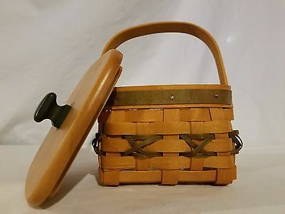 Longaberger Tree Trimming Let It Snow Basket Gr w Protector Tie On Wood Lid 2000
