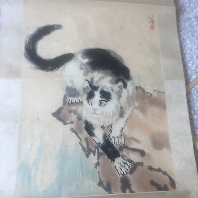 Old Vintage Chinese Hand Painted Ink Drawing Silk Scroll Painting Cats
