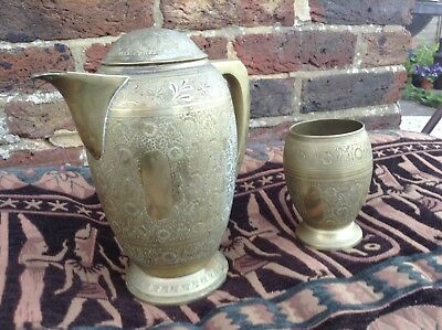 Quality Vintage. Brass coffee pot and bowl cup set. Detailed Eastern Design.