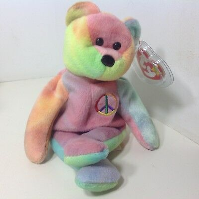 Retired Beanie Baby MWMT Ty PEACE Tie Dye Bear Tag Error 499b9c682742