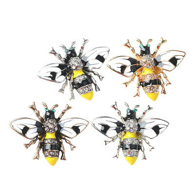 4x Bee Shape Alloy Crystal Enamel Craft Button Jewelry Making Findings 31mm