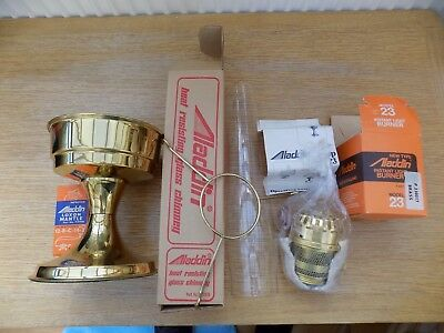 Aladdin 23 Paraffin Oil Lamp With Chimney& Opal Glass Shade New Boxed