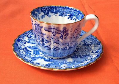 Copeland china willow pattern cup and saucer, 1894