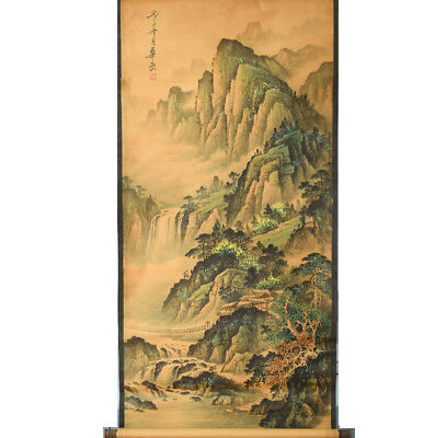 "61""x26"" old handicraft scroll painting landscape long scroll"