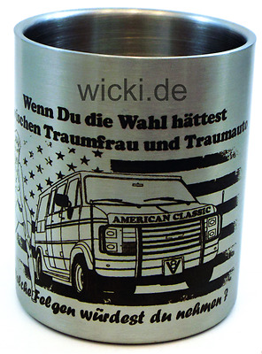 US Car V8 Chevy Dodge Ford Outdoor Camping Geschenkidee Design Edelstahl Becher