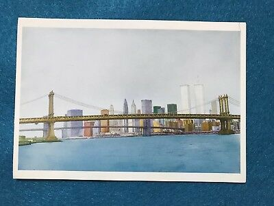 Mr 37 Collectible Postcards Art Card Two Bridges NY E. Lennard 1991 Twin Towers