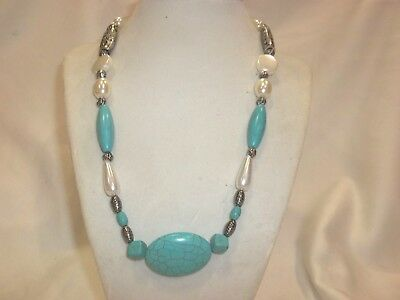"""New Silver Plated All Natural 20"""" Turquoise Necklace Chaco Canyon Style.....nice"""