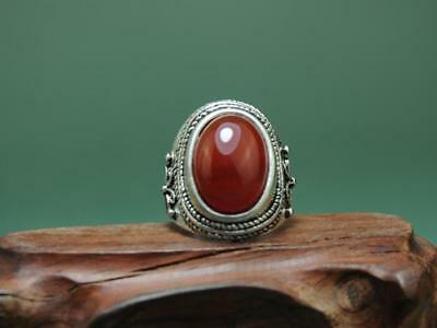 China Old Hand-Made Tibetan Silver Inlay Cloisonn & South Red Agate Ring A01
