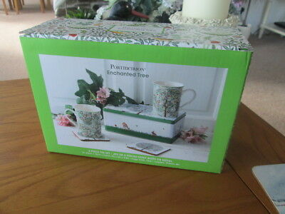 Portmeirion Enchanted Tree 2 Mugs/ Coaster 5 Piece Tin Set  New And Boxed