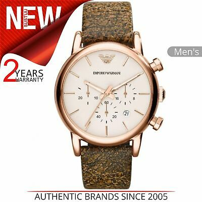 Emporio Armani Classic Men's Watch AR1809│Chronograph Dial│Brown Leather Strap