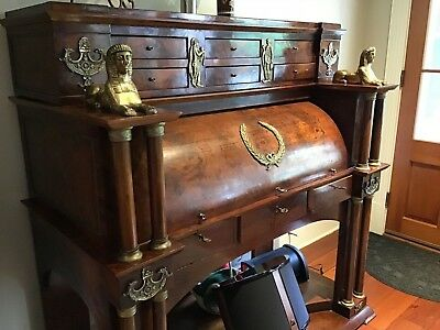 Flame Mahogany Empire Neoclassical Egyptian Revival Cylinder Desk