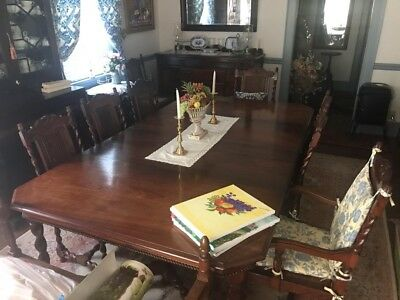 Antique Rosewood Dining Set 1918 from India includes 8 chairs and 3 side pieces