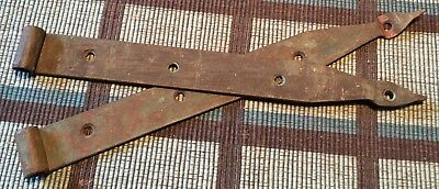 """Small Pair Of Olde 12"""" Strap Hinges Handwrought In Green Paint """"barn Fresh"""""""