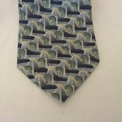 COCKTAIL COLORS 100% Silk Blue / Green / Gold Geometric Neck Tie Made in USA