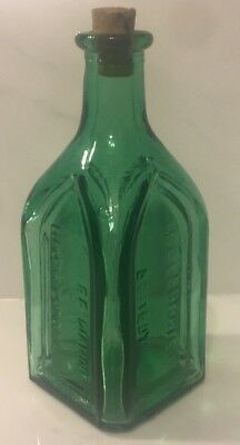 """Vintage Bottle Bitters Chief Wahoo Electric Tonic Cathedral Walbridge - Green 3"""""""