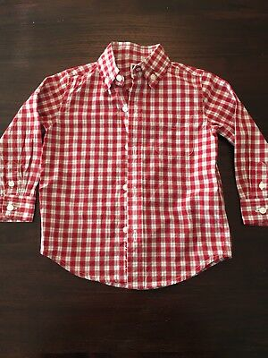 Janie and Jack Boys Dress Shirt, Size 18-24 months, EUC, Red, Gray, White