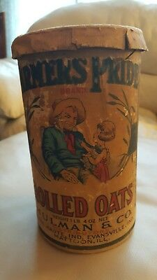 Vintage Farmer's Pride Seven And A Half Inch Rolled Oats Cardboard Container